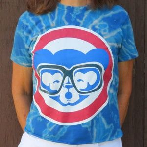 Chicago Cubs Harry Caray Bleach Crop Top sz S